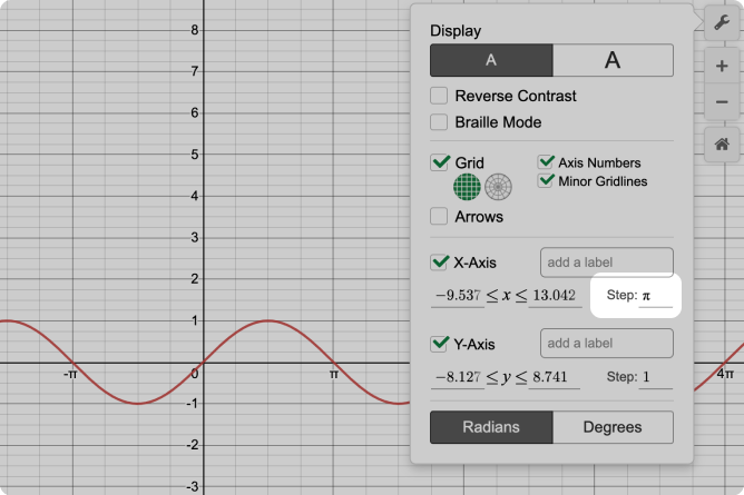 Desmos Graphing Calculator With Axis Step Called Out. Pi Entered As Step Value. Screenshot.