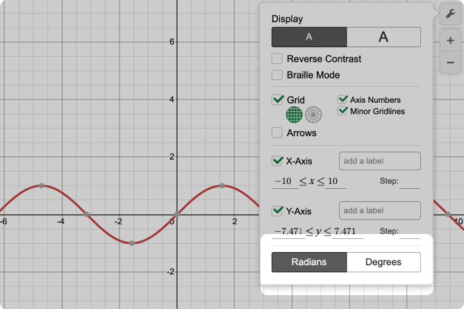 Desmos Graphing Calculator With Radians And Degree Selection Called Out. Screenshot.