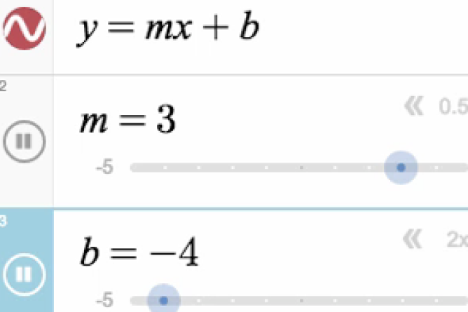 Graphing Calculator Expression Line With Sliders Shown. Screenshot.