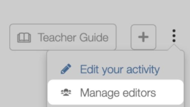 Manage editors menu. Screenshot.