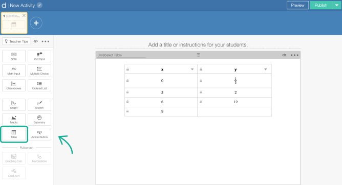 Table component on a screen in Activity Builder editor. Screenshot.