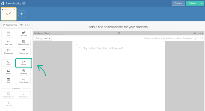 Sketch component on a screen in Activity Builder editor. Screenshot.