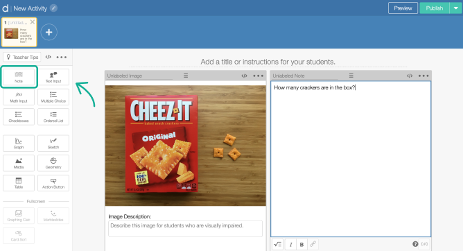 Note component on a screen in Activity Builder editor. Screenshot.