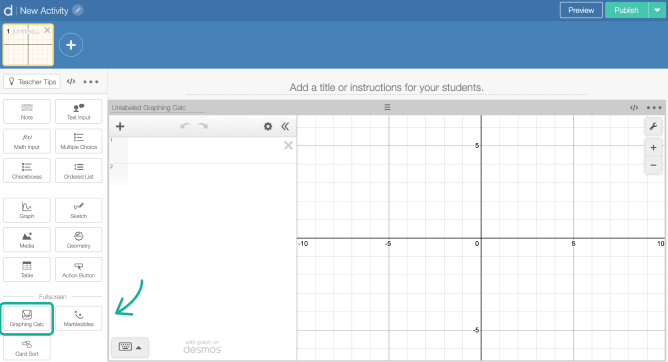 Graphing Calculator component on a screen in Activity Builder editor. Screenshot.