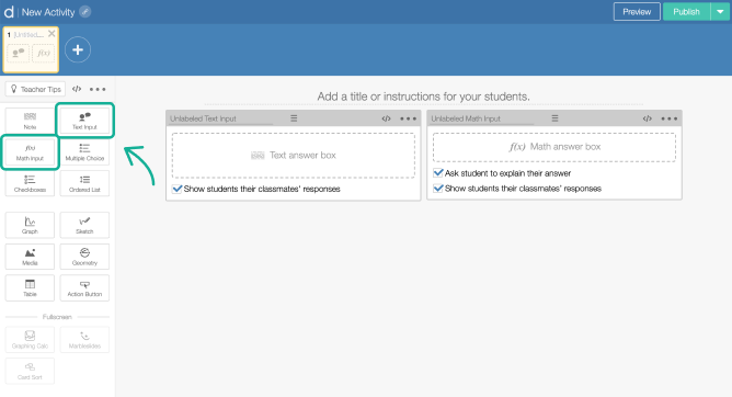Text  and  Math input components on a screen in Activity Builder editor. Screenshot.