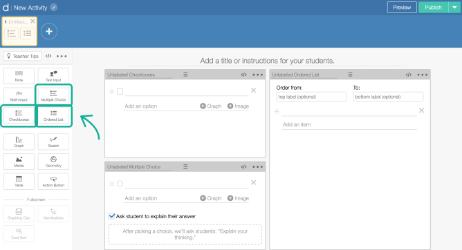 Choice, checkboxes and Ordered List components on a screen in Activity Builder editor. Screenshot.