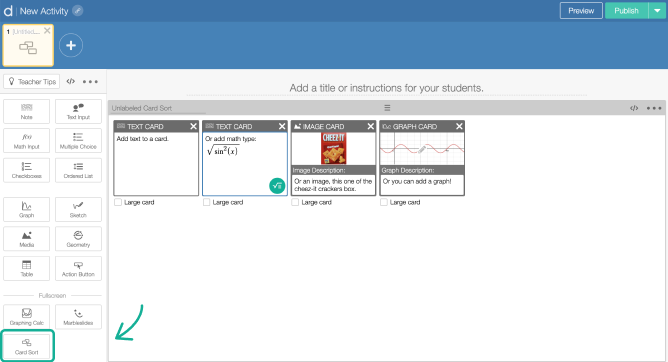 Card Sort component on a screen in Activity Builder editor. Screenshot.