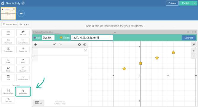 Marbleslides component on a screen in Activity Builder editor. Screenshot.