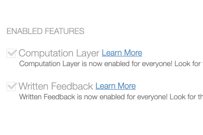 Enabled Features On Desmos Labs Page. Screenshot.
