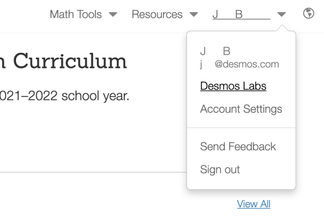 Drop Down Menu On Teacher Dot Desmos Dot Com With Desmos Labs Highlighted. Screenshot.