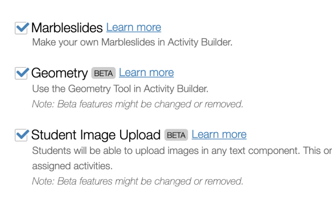 Desmos Labs Page Showing Features You Can Opt In To. Screenshot.