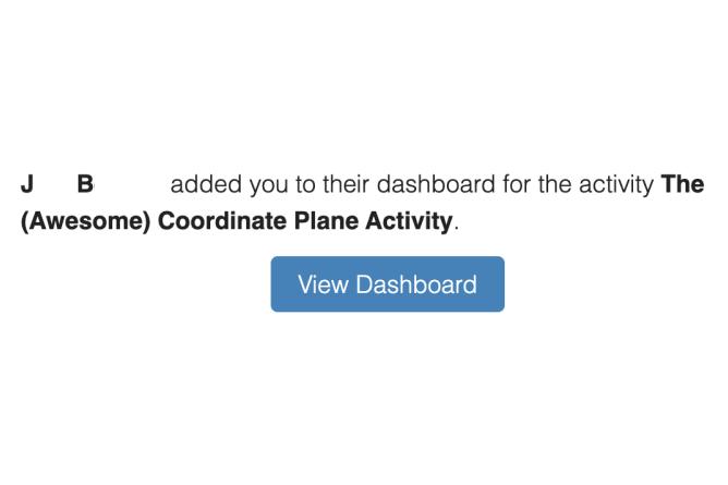 Pop-up window of notification of being added to a teacher dashboard as a co-teacher. Screenshot.