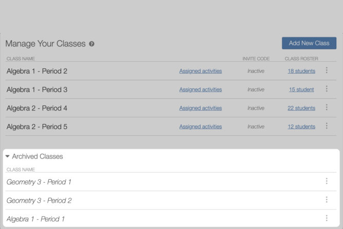 Manage Classes, archive class section at the bottom of the screen. Screenshot.