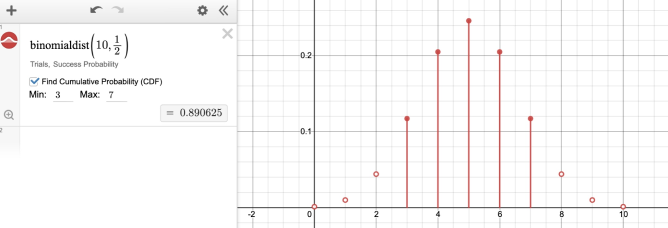 Image of binomial distribution in expression line. Screenshot.