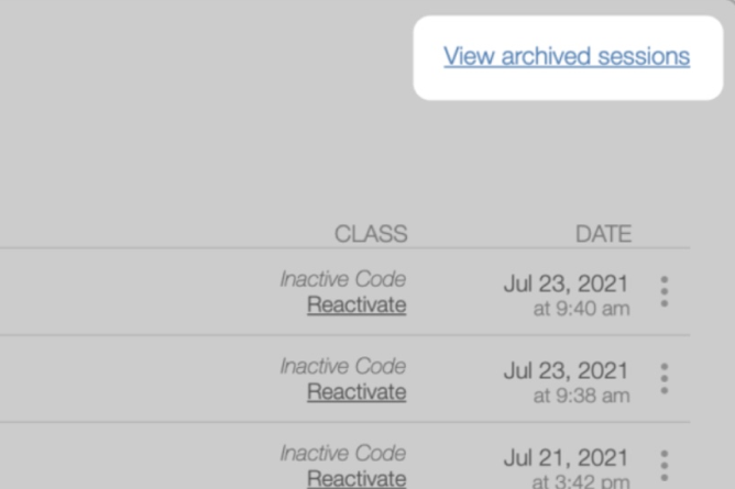 Activity History, view archive sessions. Screenshot.