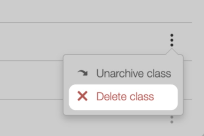 Archived Classes, Delete Class option.  Screenshot.
