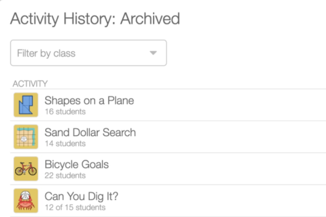 Activity History,  archive sessions. Screenshot.