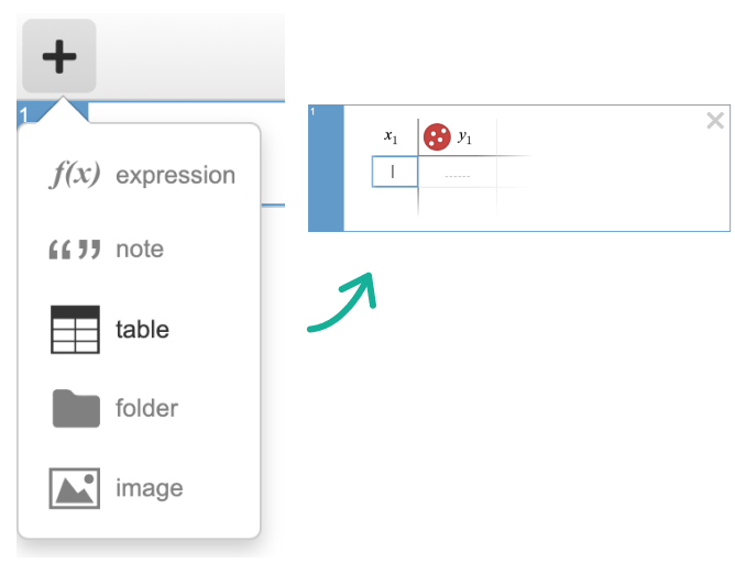 Image of add item menu and table in expression list. Screenshot.