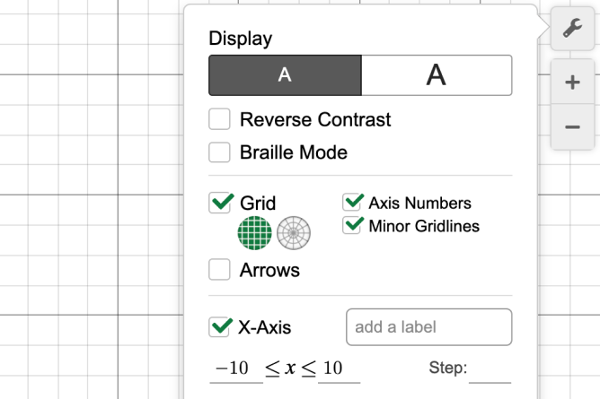 Graphing Calculator With Settings Opened. Screenshot.