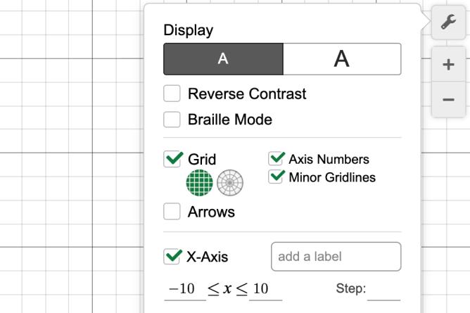 Graphing Calculator settings menu. Screenshot.