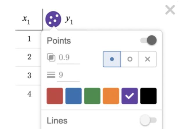 Close up of color and style menu. Screenshot.