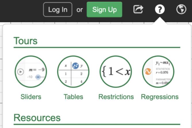 Calculator Help Menu. Screenshot.