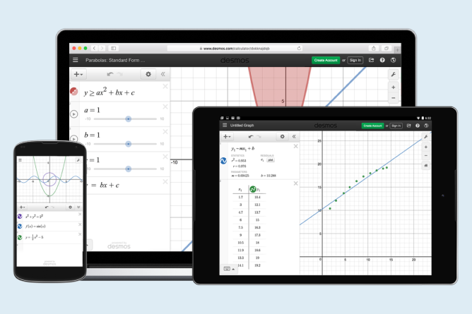 Desmos graph shown on tablet, phone, and laptop. Screenshot.