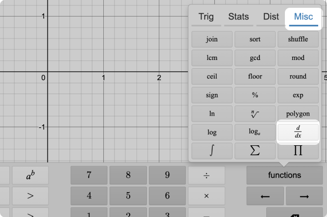 Calculator keypad functions menu with Miscellaneous section called out. \frac{d}{dx} called out also. Screenshot.