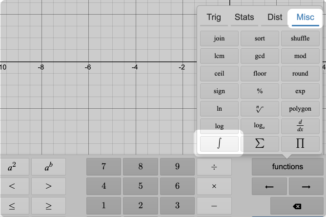 Calculator keypad function menu opened.  Miscellaneous functions and integral called out. Screenshot.