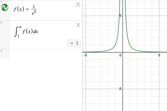 f of x is defined as one over x squared. The integral from one to infinity of f of x evaluates to one.  Screenshot.