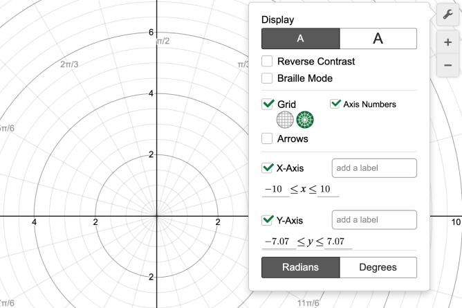 Graph settings menu with polar graphing selected. Screenshot.