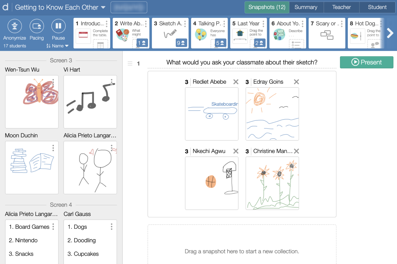 View of the teacher dashboard, Snapshot tab.  Shows images of student work being placed in a presentation screen. Screenshot.